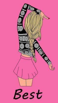 Best Friend Wallpaper, Couple Wallpaper, Girl Wallpaper, Best Friend Drawings, Bff Drawings, Kawaii Disney, Girly M, Disney Phone Wallpaper, Bff Pictures