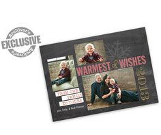 Warmest Wishes Chalkboard 5x7 Christmas Photo Card