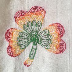 Rainbow Mendhika Shamrock Hand Embroidered by StrongArtsAndCrafts