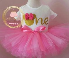 Pink and gold minnie mouse birthday outfit - minnie mouse birthday theme - pink and gold birthday outfit - minnie mouse birthda party