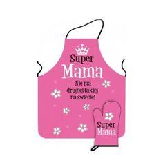 """Zestaw kuchenny zarówno dla fanów gotowania jak i dla osób, które za przebywaniem w kuchni nie przepadają. Na fartuszku widnieje uroczy napis """"Super Mama! Nie ma takiej drugiej na świecie!"""", a na rękawicy """"Super Mama"""". Całość zapakowana jest w ładne pudełeczko z okienkiem."""