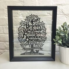 Personalised Family Oak Tree With Motto Oak Tree, Motto, Paper Cutting, Frame, Artwork, Picture Frame, Work Of Art, Auguste Rodin Artwork, Artworks