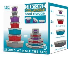 Collapsible 14 Piece Food Storage Set. Seven containers and seven lids. From Smart Planet