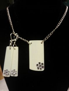 Recycled ivory piano keys necklace and earrings