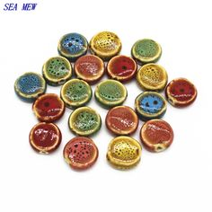 SEA MEW 14mm Round Glaze Ceramic Flat Bead Spacer Beads Porcelain Beads Handmade Materials Hole Beads DIY Jewelry accessories #Affiliate