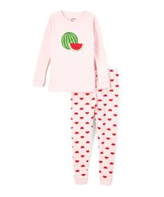 Look at this #zulilyfind! Pink Watermelon Long-Sleeve Pajama Set - Toddler & Girls #zulilyfinds