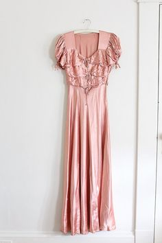 vintage 1940s dress // 1940s pink gown // by TrunkofDresses