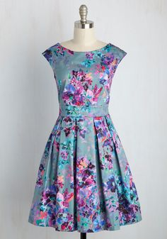 Radiant Romance Dress. Ah, that familiar pitter-patter of the heart you feel after slipping into this floral frock by Closet London! #multi #modcloth