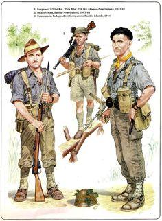 BRITISH ARMY - 1) Sergeant, 1/31st Bn, 25a Brigade, 7a Division, Papua-New Guinea 1941-42 - 2) Infantryman, Papua-New Guinea1943-44 - 3) Commando, Indipendent Companies, Pacific Island 1944