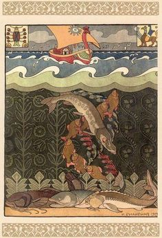Ivan Bilibin for the Russian fairy tale, 'The Volga', 1903. Beauty Illustration, Children's Book Illustration, Cuento Popular, Ivan Bilibin, Fairytale Art, Russian Art, Great Artists, Faux Painting, Fairy Tales