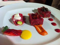 Chef Valeria Piccini's heifer Maremma tartare with strawberry emulsion ...