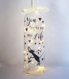 Wine Bottle Vases, Bottle Lights, Glass Jars, Vodka Bottle, Wine Glass, Bottle Caps, Light Take, Light Up, Glitter Glasses