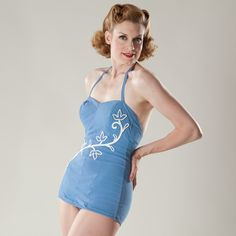 Vintage 1950s Swimsuit Blue Pin Up Summer Sea Fashions 1960s