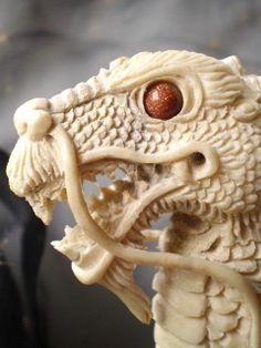 Dragon Figurine Master carved Dragon in Antler set Sunstone Eyes
