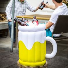 Inflatable beer glass beer cooler. Is this the best accessory for your next party or what?