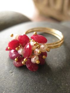Ruby and pearl anemone ring