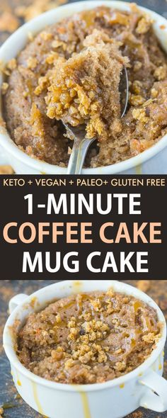Keto Coffee Cake Mug Cake ready in 1 minute and made with low carb and sugar free ingredients! Fully on the inside, tender on the outside and topped with a streusel- Vegan, Paleo, Gluten Free. #ketodessert #mugcake #mugmuffin #cakeinamug