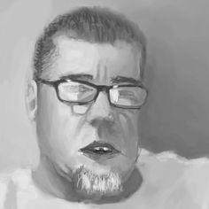 Studium anatomii twarzy, światła i waloru. Materiał referncyjny - vlogger.  Digital painting.