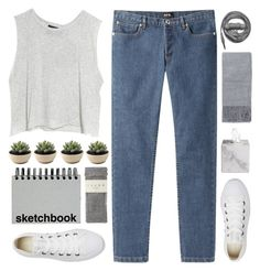 """""""Crop Top"""" by fashionlover2157 ❤ liked on Polyvore featuring A.P.C., MINKPINK, Falke, Paperchase, Urbanears, Topshop, Waterworks and Converse"""