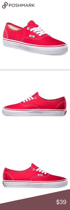 NWT Brand New in box Red Authentic Vans Brand new in box red vans sneakers NWT gift not my style but cute and functional, well made shoe!  Make them yours! Vans Shoes Sneakers