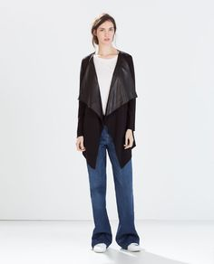 Jacket with Faux Leather Lapel http://www.zara.com/us/en/woman/knitwear/view-all/jacket-with-faux-leather-lapel-c719015p2380658.html