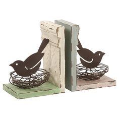 Bird and nest bookends - #Books #Spring #Gifts