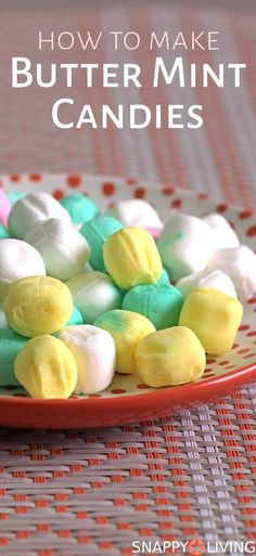 Butter mints are those little soft mints that melt in your mouth and taste like butter cream with mint. You can make butter mint candy at home. Homemade Butter, Homemade Candies, How To Make Butter Mints Recipe, Homemade Candy Recipes, Homemade Sweets, Butter Recipe, Mint Recipes, Sweet Recipes, Punch Recipes
