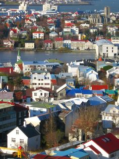 Reykjavik, the capital of Iceland, and also where we are staying. The pic is of it's old town, Tjörnin.    All the colorful roofs...