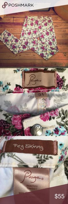 Paige peg skinny floral jeans These are so fun for spring! Bright, fun and lovely! A perfect way to ring in the new season. They are super soft and look ultra comfortable! Paige Jeans Jeans Skinny