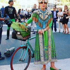 "287 Likes, 9 Comments - Tziporah Salamon (@tziporahsalamon) on Instagram: ""Have bike will travel.... #tziporahsalamon  #tzippy  #theartofdressing  #thefabricofmylife…"""