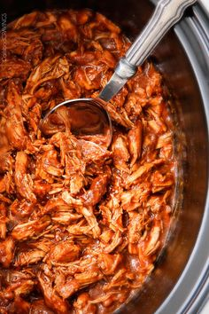 tender, tangy, sweet, smoky Slow Cooker BBQ Chicken with the BEST homemade barbecue sauce! perfect for busy days or large gatherings - you need this recipe!