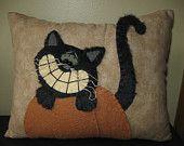 Peekaboo......Whimsical Black Kitty Cat & Pumpkin Pillow