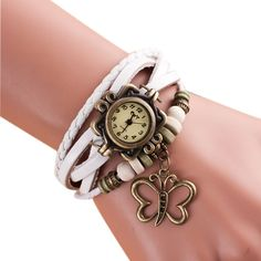 Butterfly Bracelet Watch Women Leather Weave Quartz Wristwatch Relojes Mujer Women's Casual Dress Watches Clock Relogio As Gift