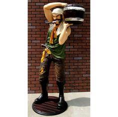 6' Lifesize Pirate Caribbean Statue w/ Wood Bucket, Knife Skull Cross & Bones