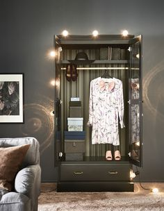 Show off your styles with modern furniture from IKEA. Try UNDREDAL wardrobe. We cut a special groove with a perfect indentation to cradle the hook of a clothes hanger. This makes it easy to hang your outfit for the morning!