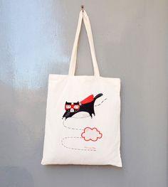 a95764f8b4 Seconds sale superhero cat tote bag cotton screen by messymai