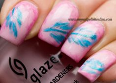 Feather nail art ~ the color combo and nail shape is cute.