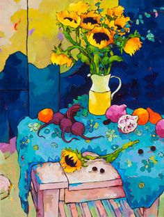 Sunflower Warmth over Blues Acrylic Painting Flowers, Abstract Flowers, Wilson Art, Art Aquarelle, Still Life Art, Fruit Art, Painting Inspiration, Flower Art, Art Decor