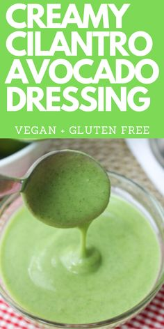 This healthy recipe for homemade Cilantro Lime Avocado Dressing is perfect on salad, for tacos or as sauce for chicken. So easy and super creamy! Friendly for Whole vegan, keto, gluten free and dairy free. Avocado Cilantro Lime Dressing, Avocado Cilantro Dressing, Creamy Avocado Dressing, Chutneys, Dairy Free Sauces, Comfort Food, Fat Free Salad Dressing Recipe, Dairy Free Dressing Recipes, Vegan Dressings