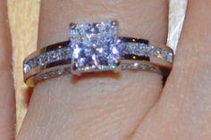 1.50 Carat 14K Solid White Gold Princess Cut Man made diamond Ring