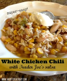 White Lightning Chili made with Trader Joe's salsa. Couldn't be easier! Healthy, and our whole family loves this dish! Must-pin!