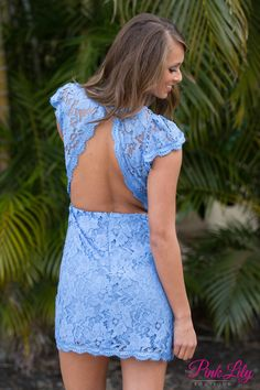 Forever Divine Periwinkle Lace Dress CLEARANCE - The Pink Lily