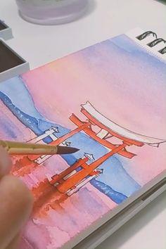 Watercolor Art Lessons, Watercolor Painting Techniques, Watercolor Drawing, Watercolor Landscape Tutorial, Watercolor Video, Watercolor Art Paintings, Watercolor Tutorials, Japan Watercolor, Watercolor Postcard