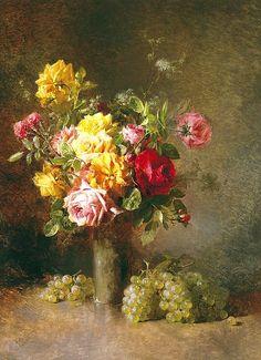 Mathieu Kohler  Still Life of a Vase of Roses  1841