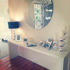 White furniture,  white roses, mirror decor, white silver black decor, ikea malm table perfect ♡