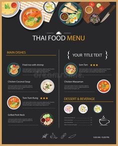 Illustration about Vector thai food restaurant menu template flat design. Illustration of lunch, cafe, flat - 66502396 Thai Restaurant Menu, Thai Food Menu, Restaurant Menu Template, Restaurant Menu Design, Fast Food Restaurant, Chicken Coconut Soup, Chicken Menu, Asia Food, Food Menu Template
