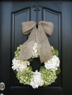 Wreaths - Hydrangea Wreath -  Wreaths for All Seasons - Spring Hydrangeas - Christmas Wreaths - Hydrangea Blooms. twoinspireyou on etsy