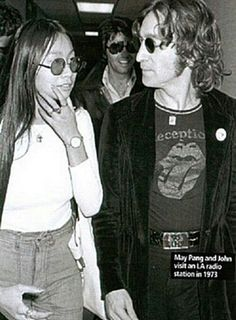 ♡♥John Lennon 32 is with his personal assistant and young lover May Pang 22 in 1973 whom Yoko Ono gave John permission to have an affair with while married♥♡