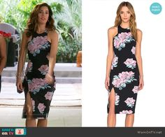Marisol's black and pink floral pencil dress on Devious Maids.  Outfit Details: https://wornontv.net/57874/ #DeviousMaids  Buy it here: http://wornon.tv/36258