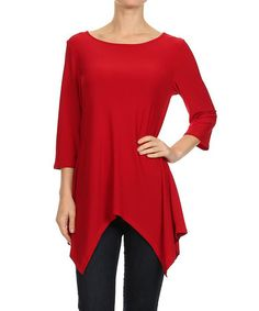 Another great find on #zulily! Red Sidetail Top by One Fashion #zulilyfinds